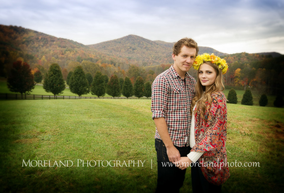 mountain engagement, atlanta wedding photography, blue ridge engagement, firefighters love, fireman engagement, horses, flowers in her hair, adam and eve, moreland photography, open fields, country engagement photography